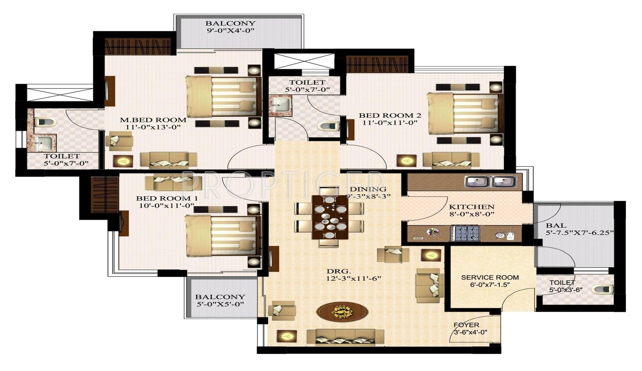 1400 sq ft 3 bhk 2t apartment for sale in urbtech india for 1200 post oak floor plans