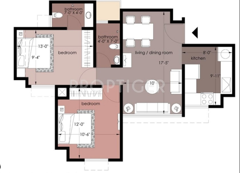 950 Sq Ft 2 Bhk 2t Apartment For Sale In Everest Lavender