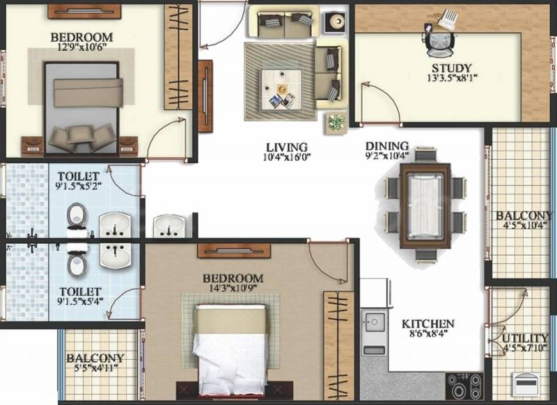 Keerthi Krishna Viva (2BHK+2T (1,295 sq ft) + Study Room 1295 sq ft)