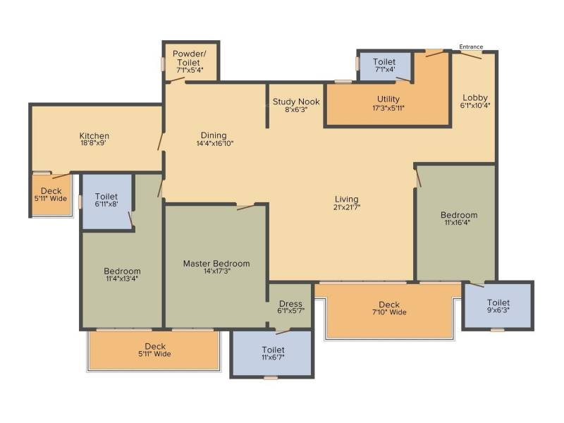 DLF The Crest (3BHK+3T (3,087 sq ft) 3087 sq ft)