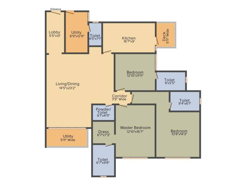 DLF The Crest (3BHK+3T (2,644 sq ft) 2644 sq ft)
