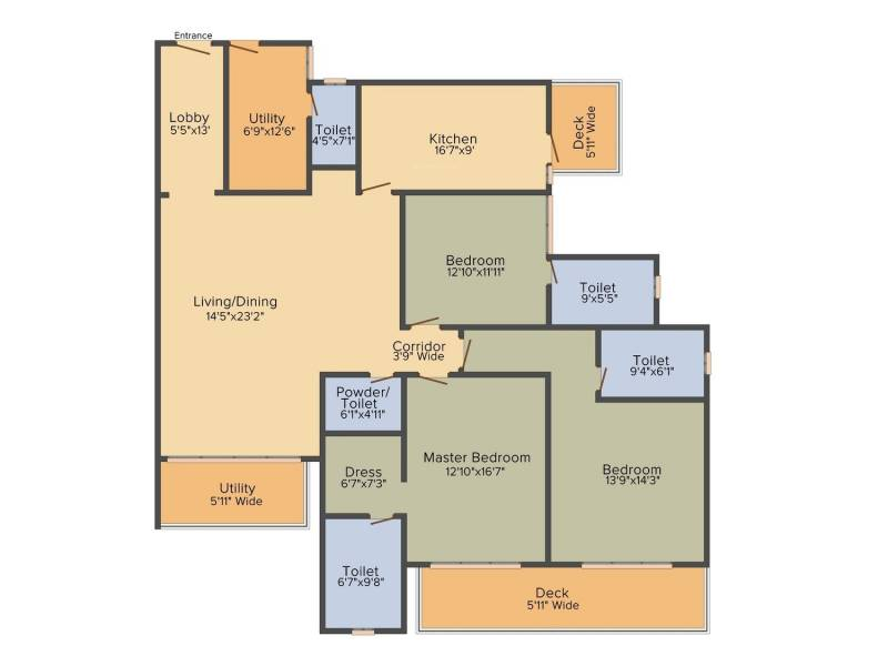 DLF The Crest (3BHK+3T (2,651 sq ft) 2651 sq ft)