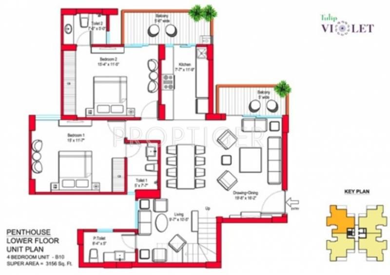 Tulip Violet (4BHK+5T (3,156 sq ft) + Servant Room 3156 sq ft)