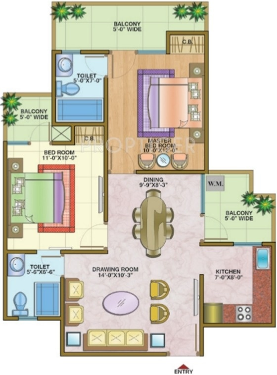 1125 sq ft 2 bhk 2t apartment for sale in nandini for 1125 sq ft floor plan