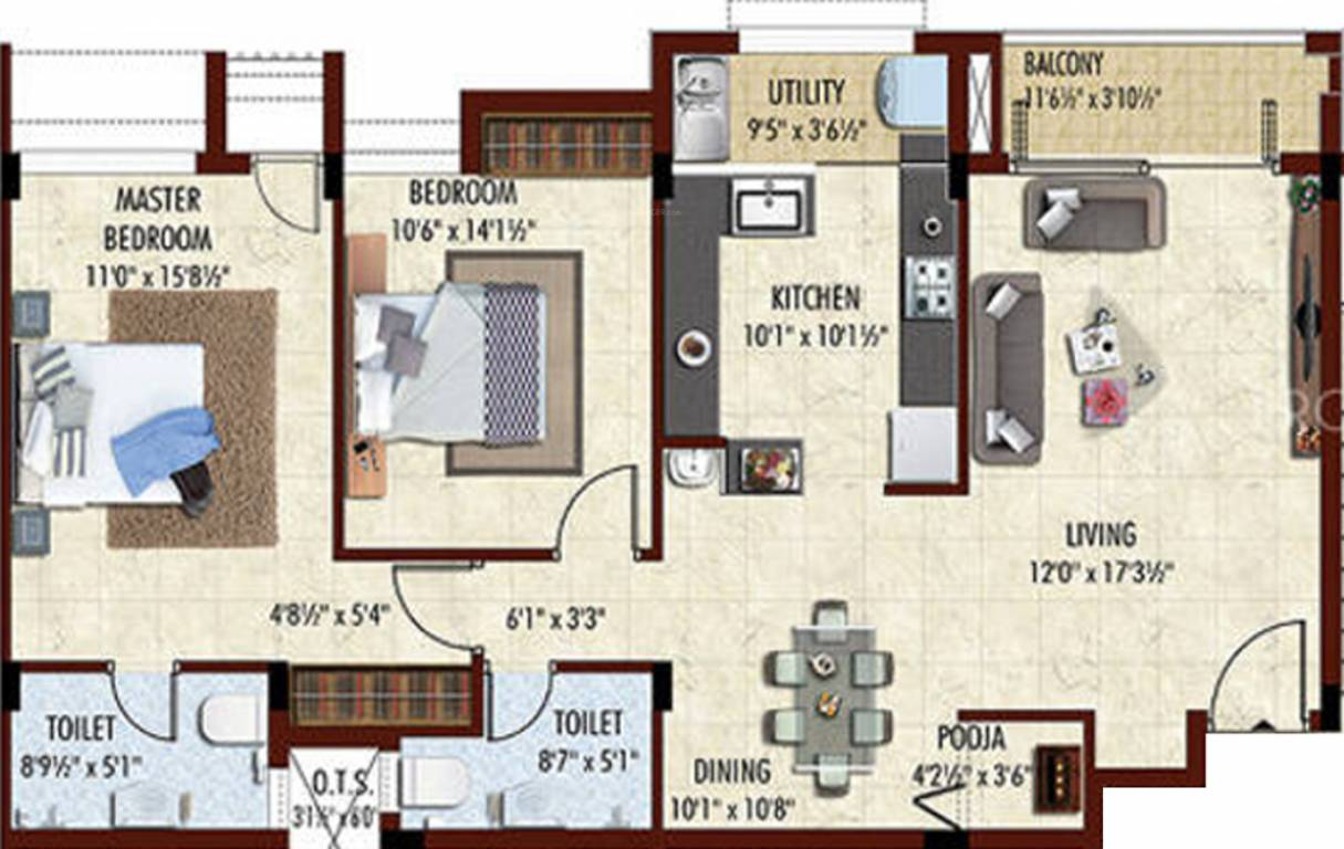 950 sq ft 2 bhk 2t apartment for sale in breeze infra for 950 sq ft