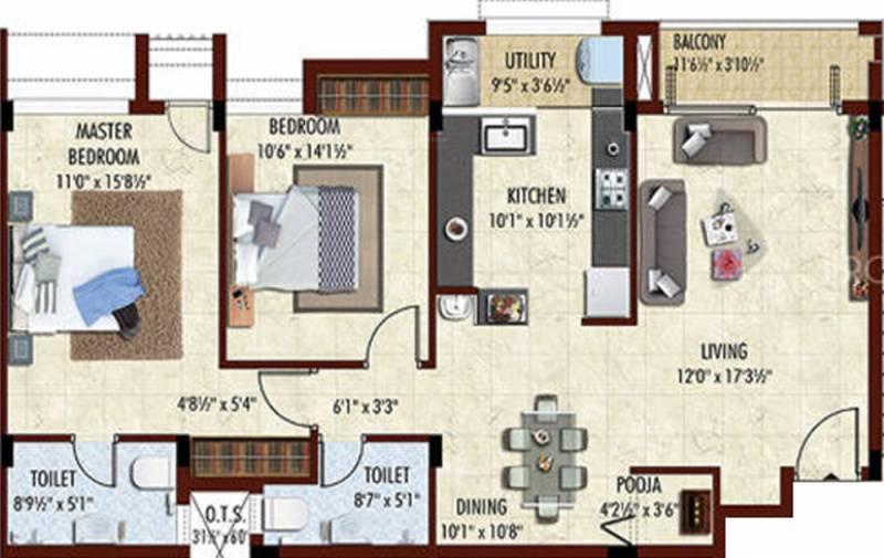Breeze Swarna (2BHK+2T (950 sq ft) + Pooja Room 950 sq ft)