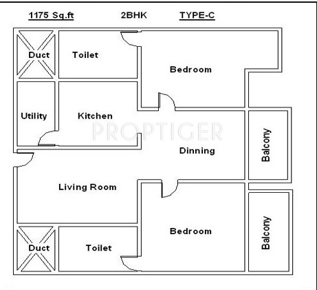 Parth Gardenia (2BHK+2T (1,175 sq ft) 1175 sq ft)