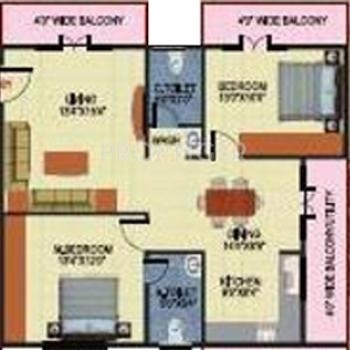 SV Mayfair (2BHK+2T (1,225 sq ft) 1225 sq ft)