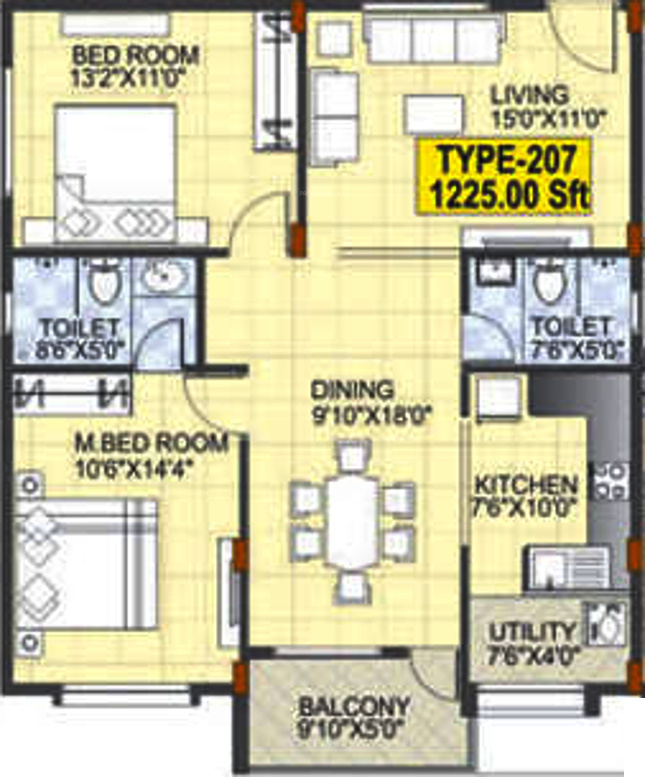 1225 Sq Ft 2 Bhk 2t Apartment For Sale In Mahaveer