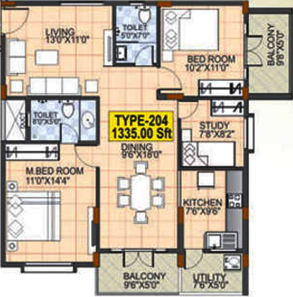 1335 Sq Ft 2 Bhk 2t Apartment For Sale In Mahaveer