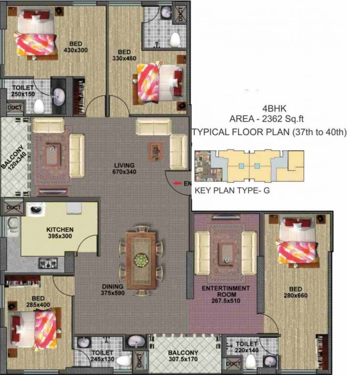 House Plan For 16 Feet By 54 Feet Plot Plot Size 96: 2362 Sq Ft 4 BHK 4T Apartment For Sale In Alhind Burj