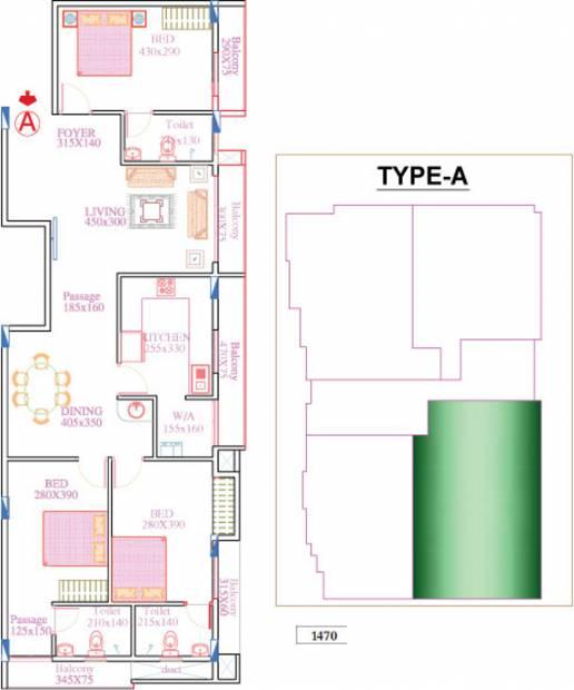 Dream IBIZA (3BHK+3T (1,470 sq ft) 1470 sq ft)