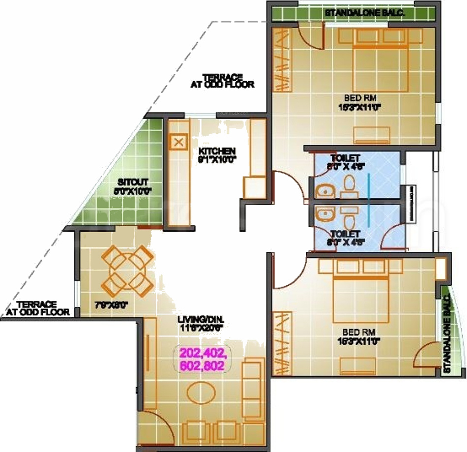1385 Sq Ft 2 Bhk 2t Apartment For Sale In Srs Group Pune: regent heights floor plan