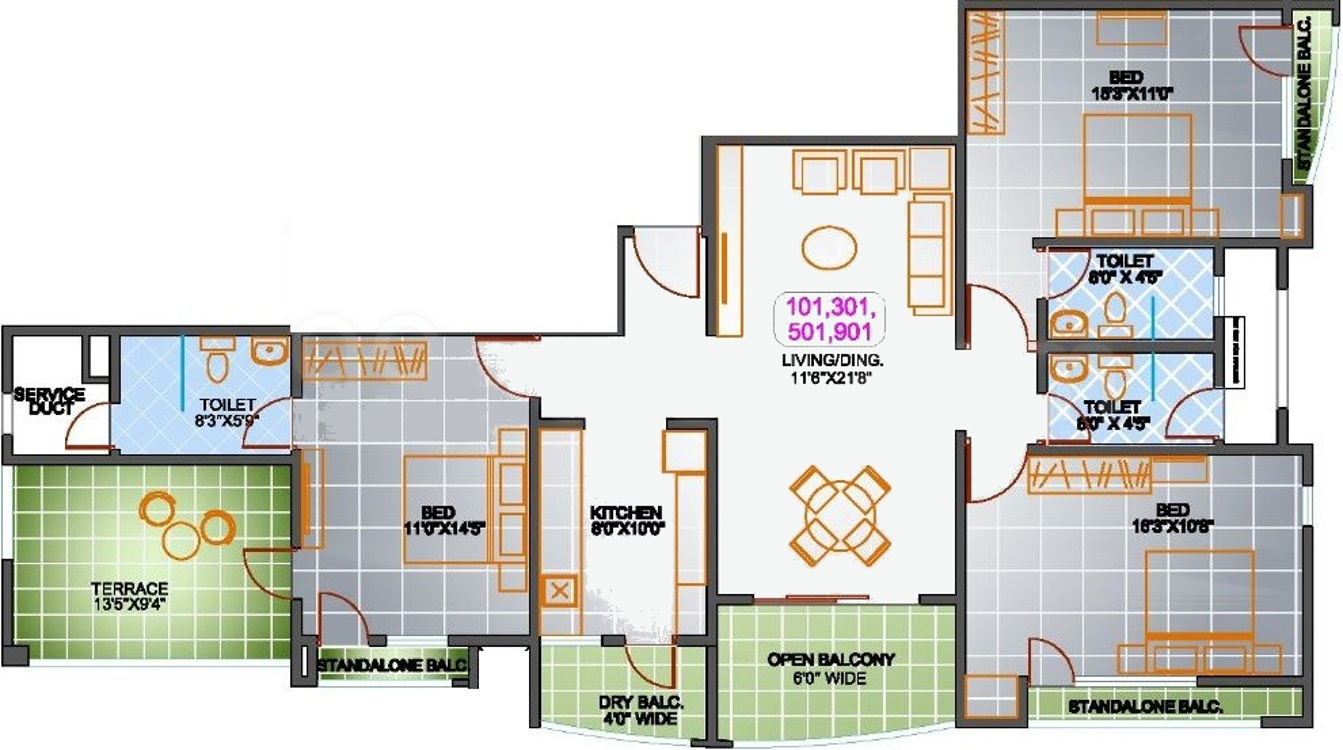 1910 sq ft 3 bhk 3t apartment for sale in srs group pune Regent heights floor plan