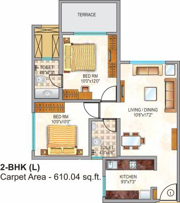 640 Sq Ft 1 Bhk 2t Apartment For Sale In Neptune Triveni