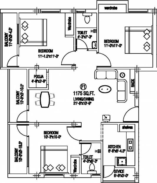 Anirudh Saras Castle (3BHK+2T (1,175 sq ft) + Pooja Room 1175 sq ft)