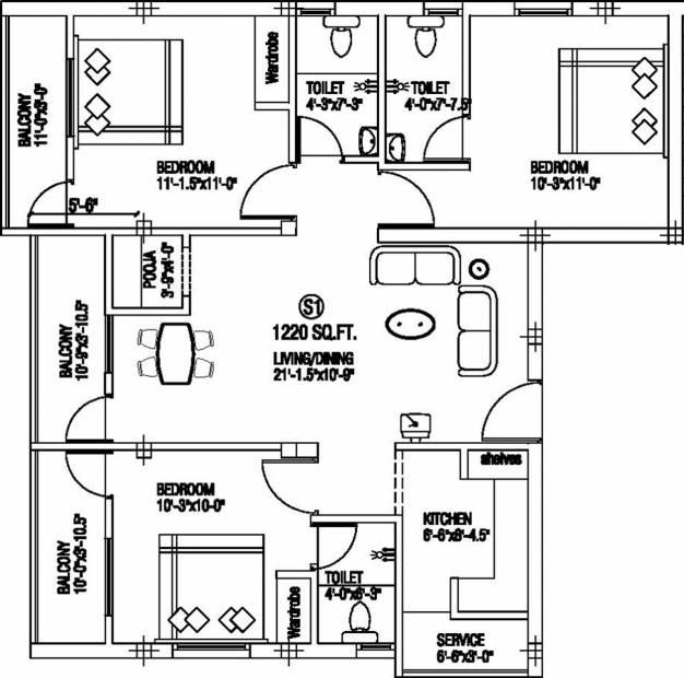 Anirudh Saras Castle (3BHK+3T (1,220 sq ft) + Pooja Room 1220 sq ft)