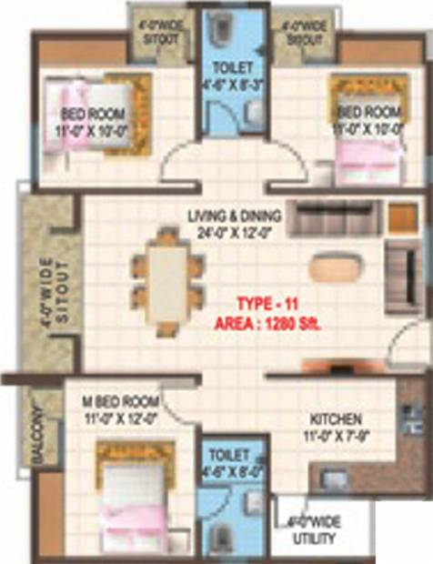 Prominent Vistara (3BHK+2T (1,280 sq ft) 1280 sq ft)