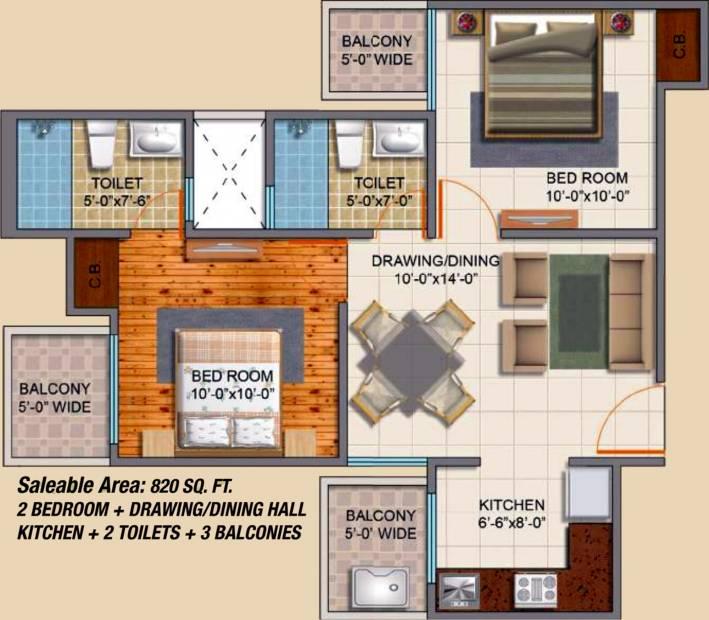 Royal Estate Fragrance Homes (2BHK+2T (820 sq ft) 820 sq ft)
