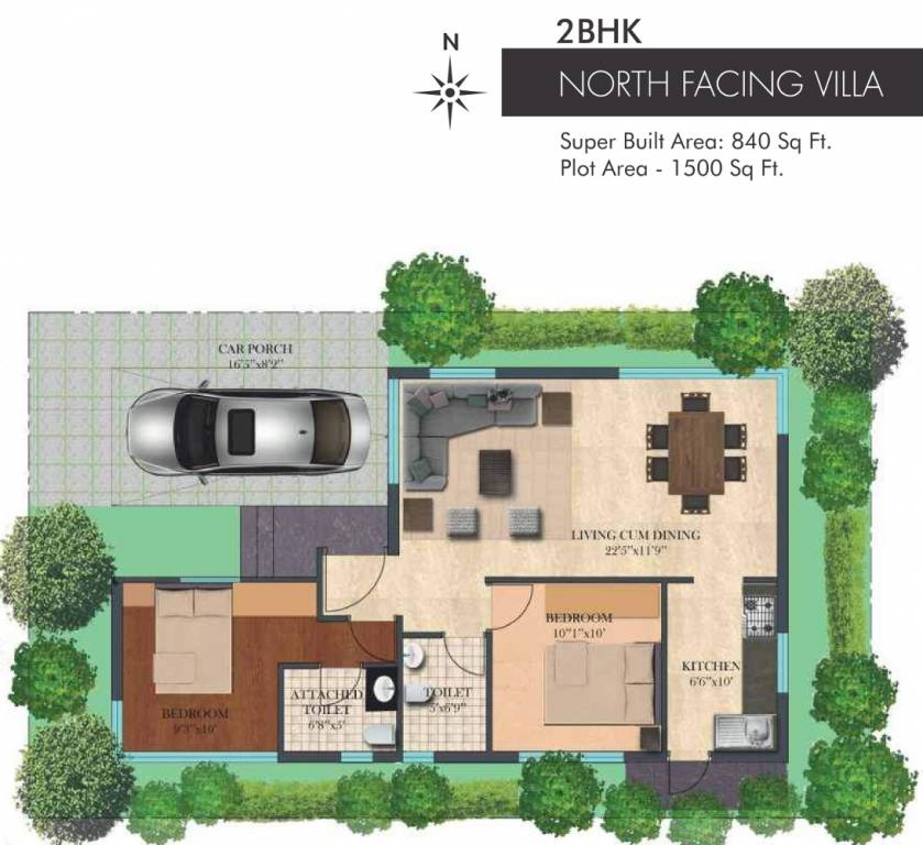 840 sq ft 2 bhk 2t villa for sale in esteem misty hills for 840 sq ft house plans