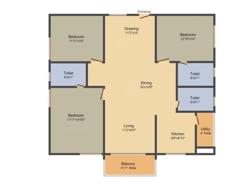 Sumadhura Acropolis (3BHK+3T (1,600 sq ft) + Pooja Room 1600 sq ft)