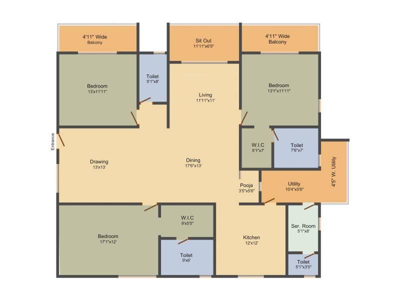 Sumadhura Acropolis (3BHK+3T (2,615 sq ft) + Servant Room 2615 sq ft)