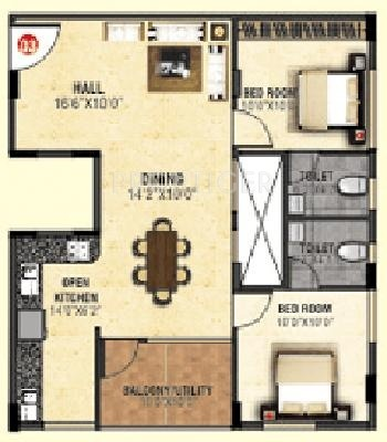 Shravanthi Alpyne (2BHK+2T (1,020 sq ft) 1020 sq ft)