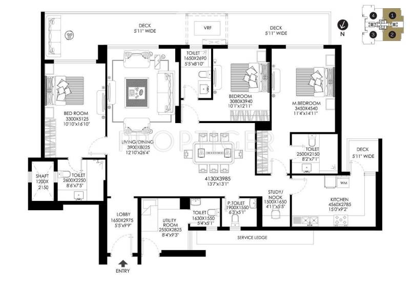 DLF The Crest (3BHK+5T (2,662 sq ft) + Study Room 2662 sq ft)