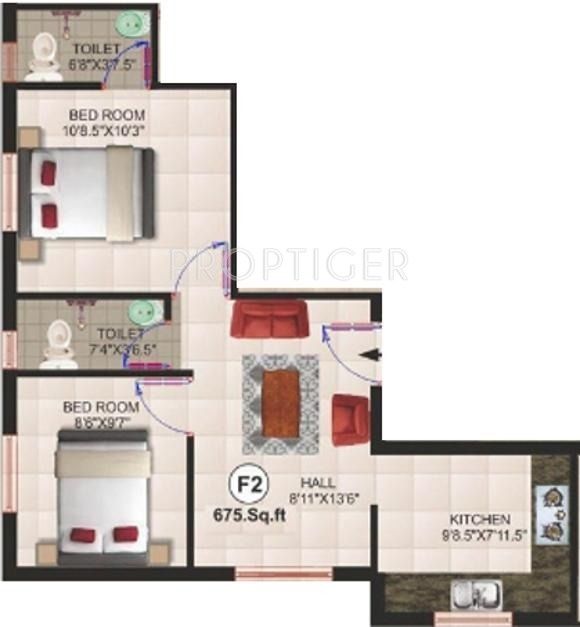 675 sq ft 2 bhk 2t apartment for sale in sri lakshmi ram for 675 sq ft floor plan