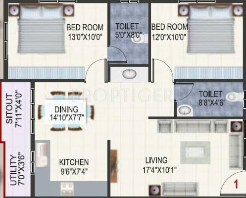 1010 Sq Ft 2 Bhk 2t Apartment For Sale In Ssv