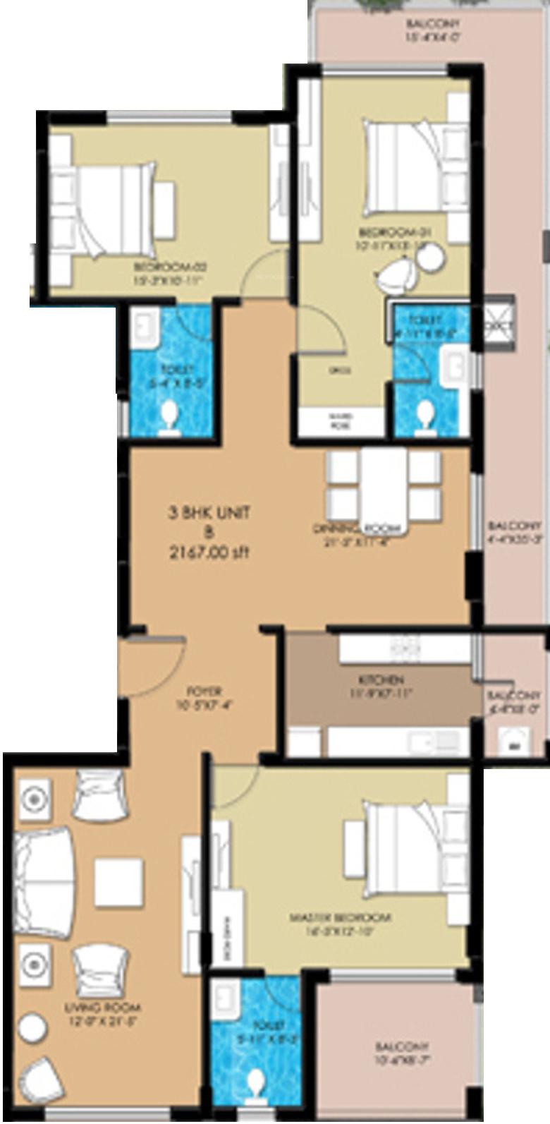 Elegant buckingham in frazer town bangalore price for Buckingham choice floor plans