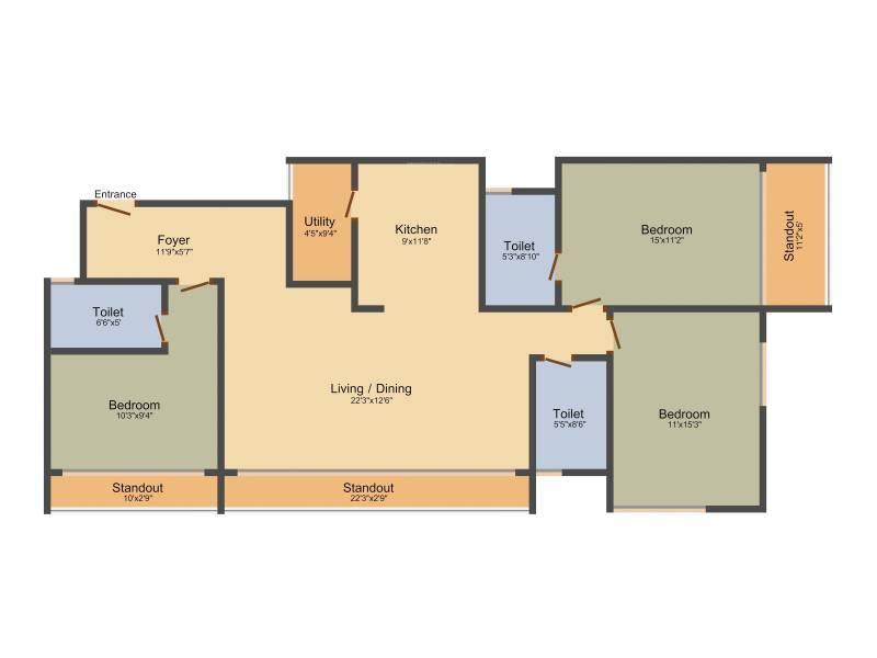 Dhammanagi Garden Terrace (3BHK+3T (1,818 sq ft) 1818 sq ft)