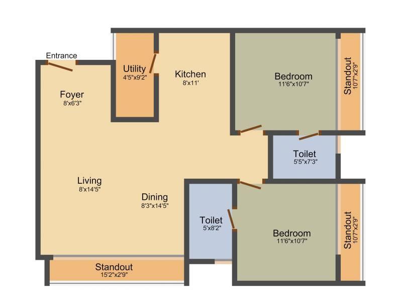 Dhammanagi Garden Terrace (2BHK+2T (1,269 sq ft) 1269 sq ft)