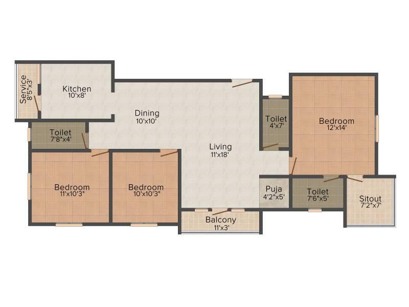 Sai Sai Shankara (3BHK+3T (1,391 sq ft) + Pooja Room 1391 sq ft)