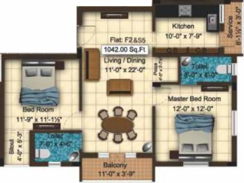 Sai Sai Shankara (2BHK+2T (1,042 sq ft) + Pooja Room 1042 sq ft)