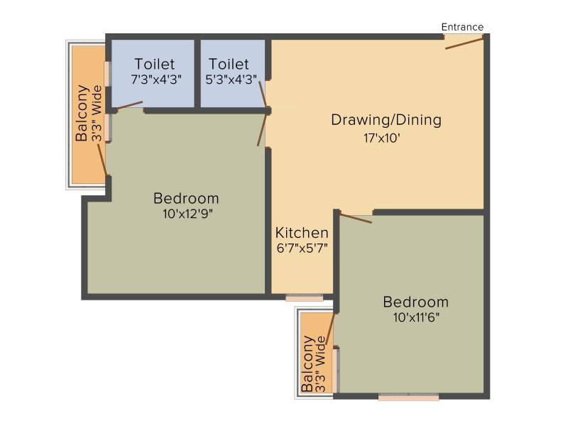 VKG The World Tower (2BHK+1T (950 sq ft) 950 sq ft)