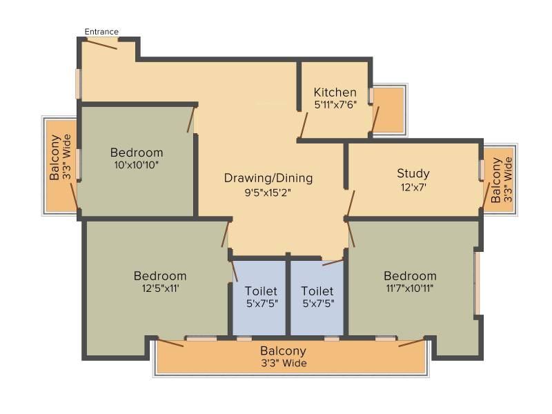 VKG The World Tower (3BHK+2T (1,650 sq ft) 1650 sq ft)