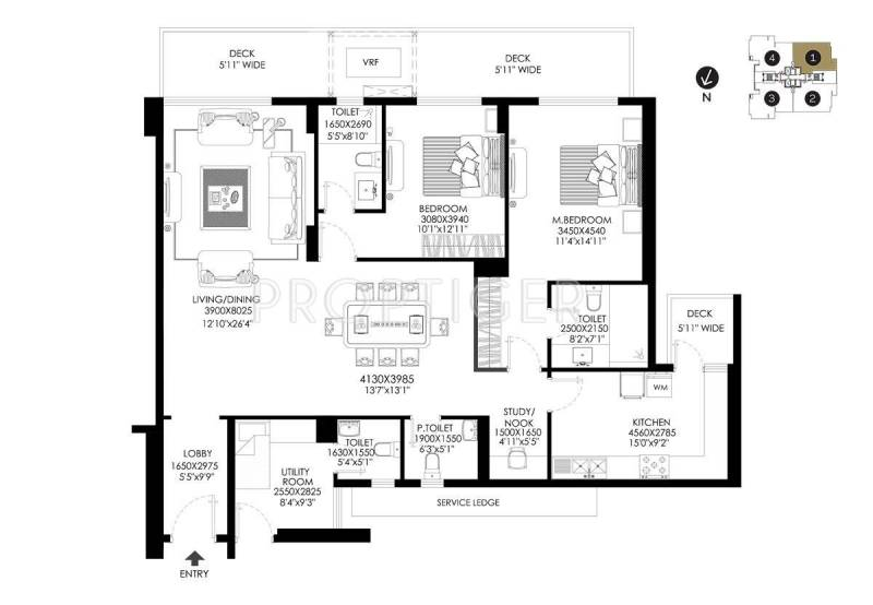 DLF The Crest (2BHK+4T (2,225 sq ft) + Study Room 2225 sq ft)