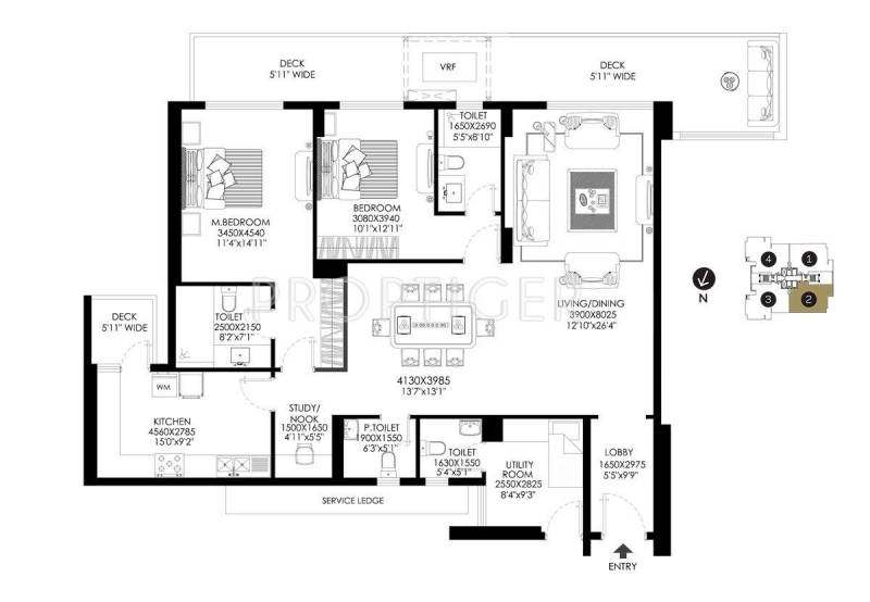 DLF The Crest (2BHK+4T (2,349 sq ft) + Study Room 2349 sq ft)
