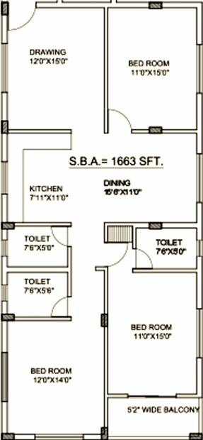Lifestyle Prahalad Residency (3BHK+3T (1,663 sq ft) 1663 sq ft)