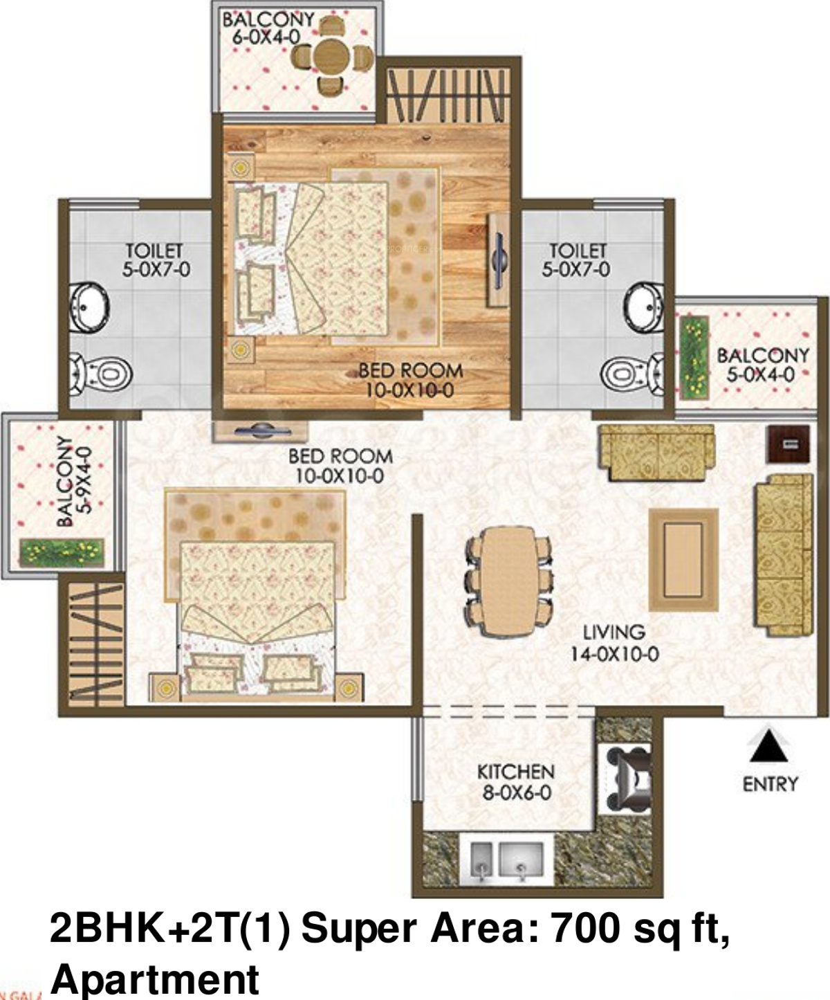 700 sq ft 2 bhk 2t apartment for sale in oxygreen galaxy