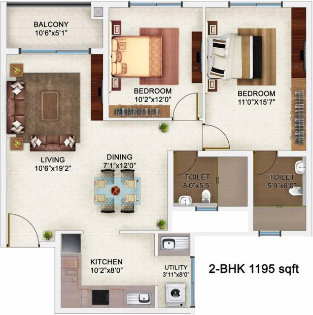 Bren Champions Square (2BHK+2T (1,195 sq ft) 1195 sq ft)