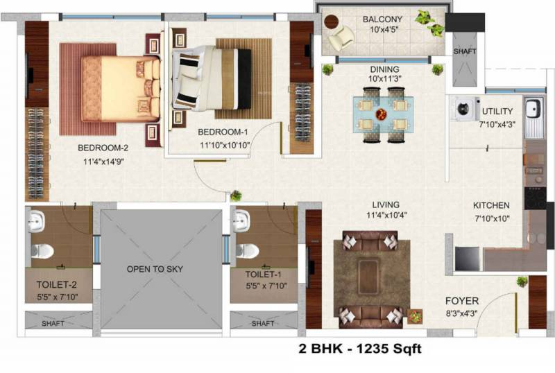 Bren Champions Square (2BHK+2T (1,235 sq ft) 1235 sq ft)