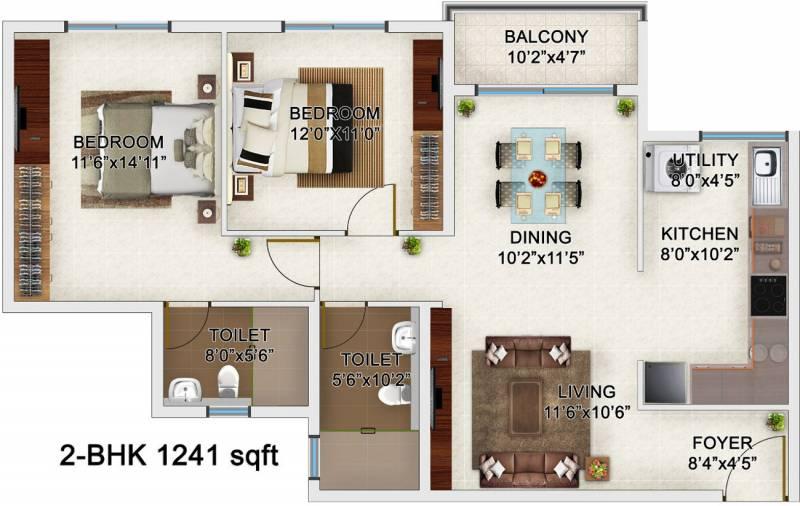 Bren Champions Square (2BHK+2T (1,241 sq ft) 1241 sq ft)