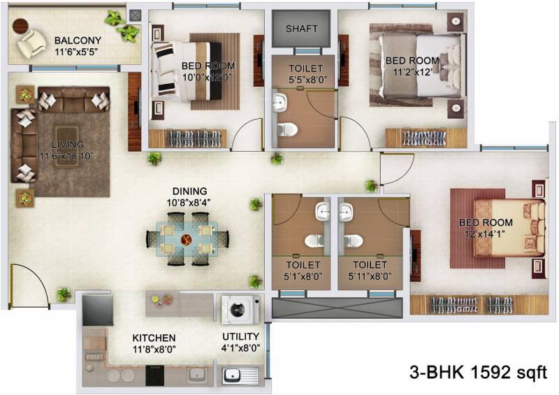 Bren Champions Square (3BHK+3T (1,592 sq ft) 1592 sq ft)