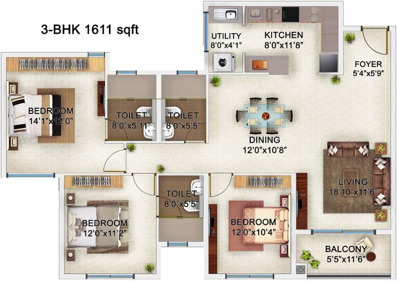 Bren Champions Square (3BHK+3T (1,611 sq ft) 1611 sq ft)