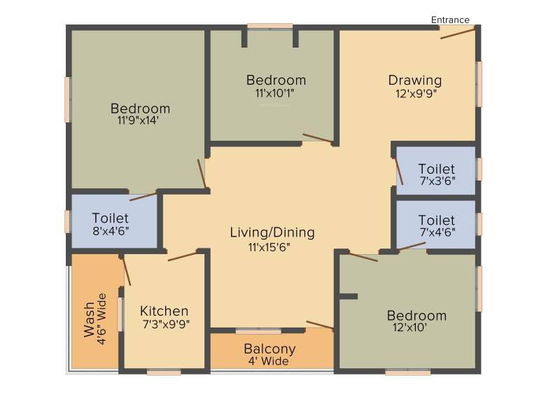 PRK Rajender Residency (3BHK+3T (1,350 sq ft) 1350 sq ft)