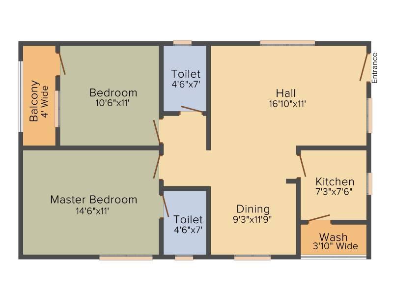 PRK Rajender Residency (2BHK+2T (1,100 sq ft) 1100 sq ft)