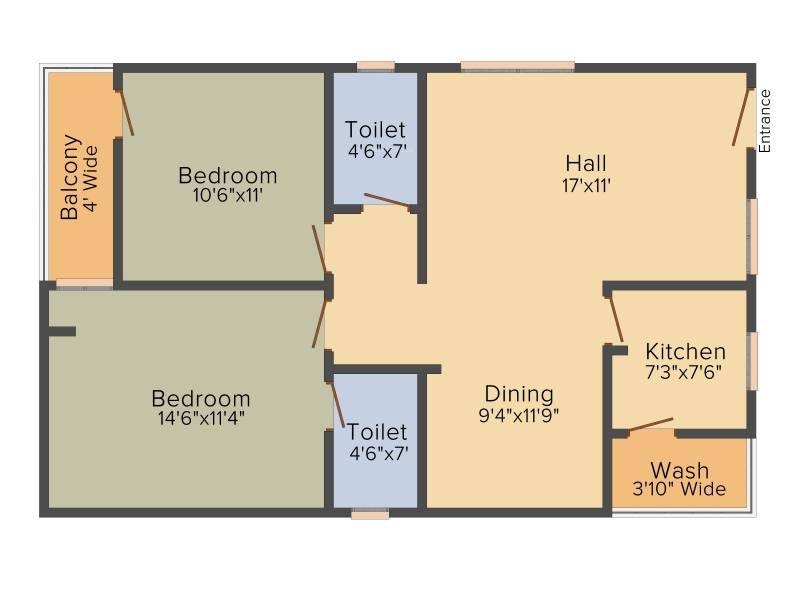 PRK Rajender Residency (2BHK+2T (1,280 sq ft) 1280 sq ft)
