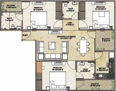 1460 Sq Ft 3 Bhk Floor Plan Image Krishna Dream Developer The Glare 1 Available For Sale Proptiger Com